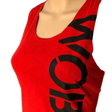 Womens Red Fitted Racer back Vest Close