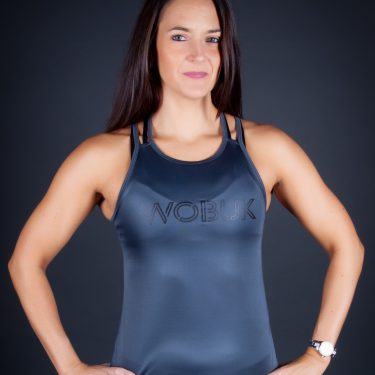 Women Gray Gym vest Top Side
